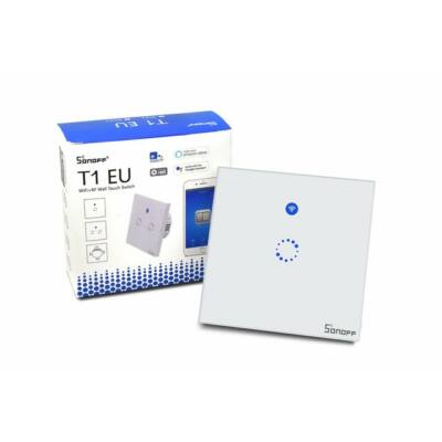 Sonoff T1 EU 1C WiFi + rádióvezérlésű, távvezérelhető, érintős villanykapcsoló
