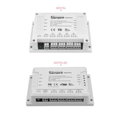 Sonoff 4CH PRO (R2) internetről távvezérelhető, WiFi-s és RF-es időzíthető kapcsoló relé négy áramkörhöz