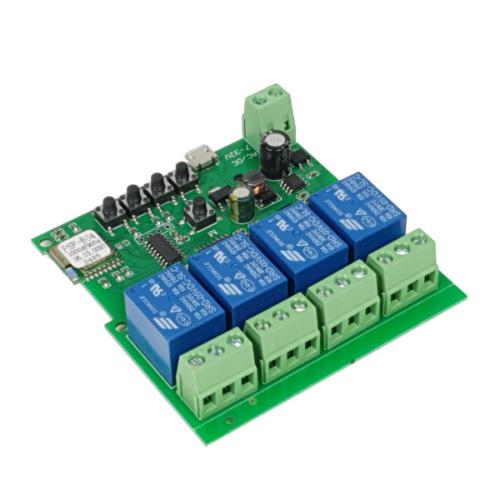 SmartWise 5V-32V négy áramkörös WiFi + RF-es, Sonoff kompatibilis, távvezérelhető okos kapcsoló relé, kontakt kapcsolással és impulzus kapcsolási üzem
