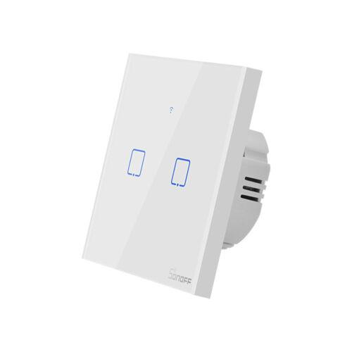 Sonoff TX T1 EU 2C WiFi + RF vezérlésű, távvezérelhető, érintős dupla/csillár villanykapcsoló (fehér)