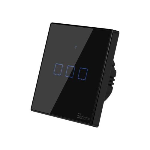 Sonoff TX T3 EU 3C WiFi + RF vezérlésű, távvezérelhető, érintős hármas csillár villanykapcsoló (fekete)