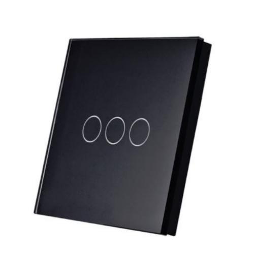 SmartWise T1R3B (R2)  hármas/csillár RF (rádiós), alternatív / keresztváltó kapcsoló / fali RF távirányító (fekete)