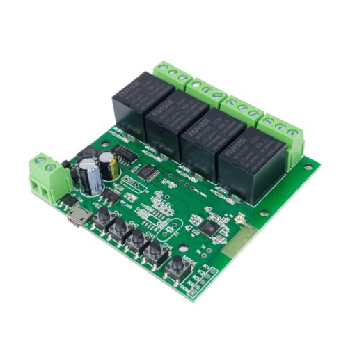 SmartWise 5V-32V négy áramkörös WiFi-s, Sonoff kompatibilis, távvezérelhető okos kapcsoló relé, kontakt kapcsolással és impulzus kapcsolási üzemmóddal
